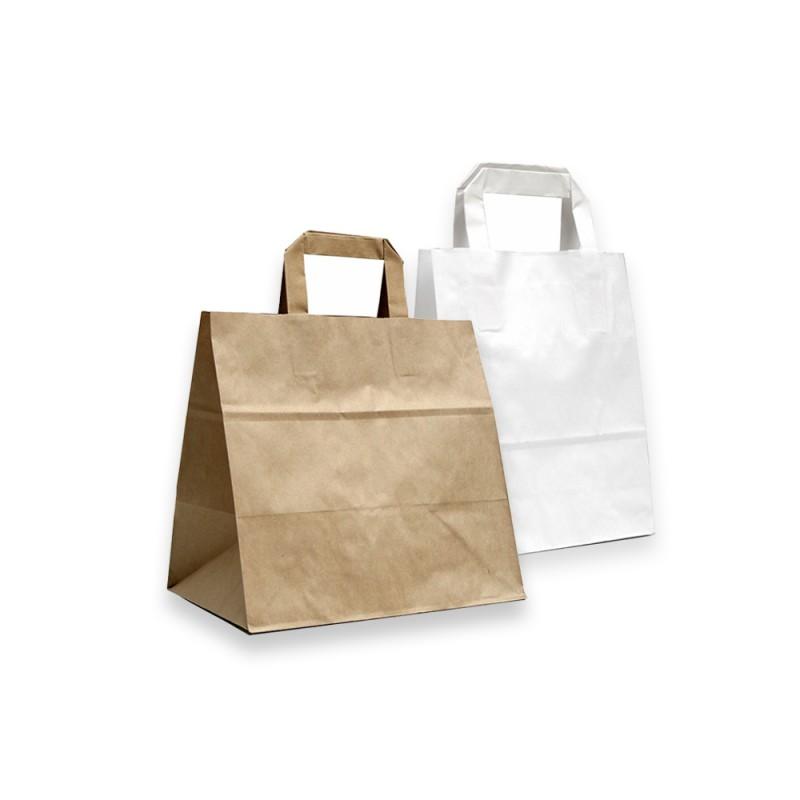 sac papier kraft avec poignees plates blanc et brun