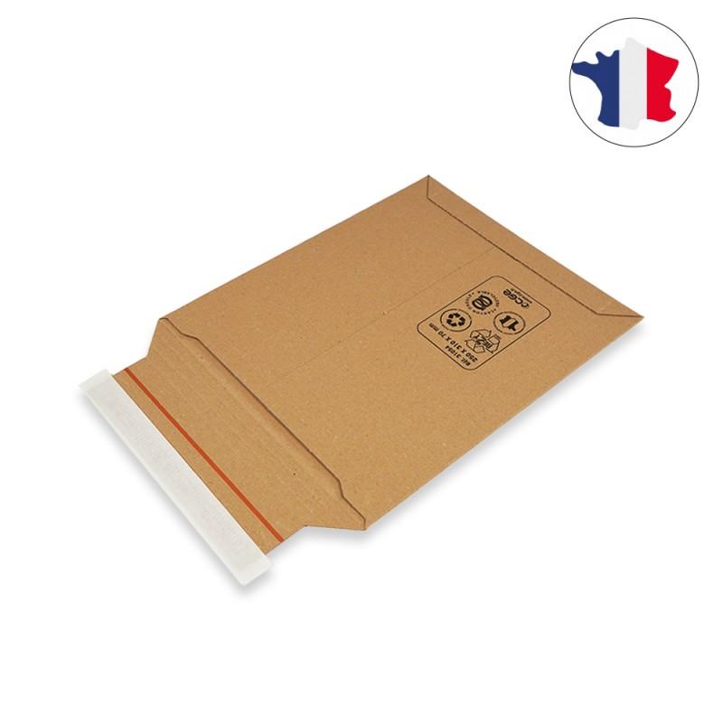 Pochette carton 100 % papier recyclé à fermeture adhésive fabriquée en france